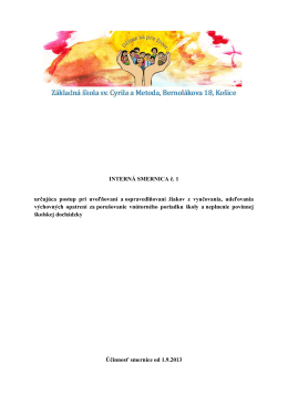 Interná smernica 1/2013 určujúca postup pri uvoľňovaní