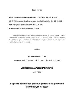 VZN č. 39 o úprave podmienok predaja podávania a