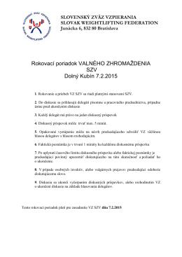 Rokovací poriadok VALNÉHO ZHROMAŽDENIA 2015