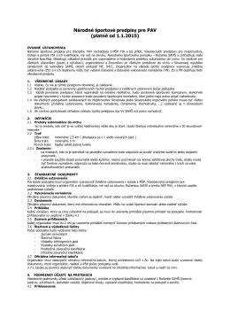 Národné športové predpisy pre PAV (platné od 1.1.2015)