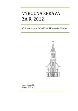 VÝROČNÁ SPRÁVA ZA R. 2012 - Cirkevný zbor ECAV na Slovensku