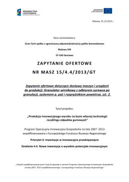 ZAPYTANIE OFERTOWE NR MASZ 15/4.4/2013/GT