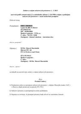 Zmluva o nájme nebytových priestorov č. 2 /2013 uzavretá