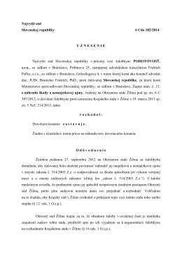Najvyšší súd Slovenskej republiky 6 Cdo 182