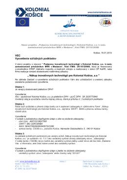 """VEC Vysvetlenie súťažných podkladov """" Nákup"""