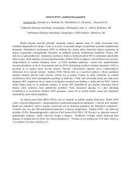 Aktivita DAO v pediatrickej populácii Zuzulová M