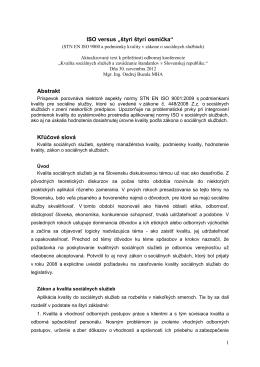STN EN ISO 9000 a podmienky kvality v zákone o