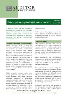Aktuality 2012 Daňové priznanie právnických osôb za rok