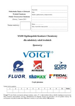 XXIII Konkurs Chemiczny 2015, etap I