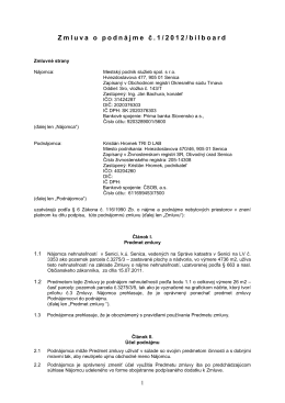 Podnájomná zmluva - Mestský podnik služieb spol s ro Senica