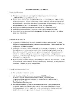 """REGULAMIN KONKURSU """"ARTEMIDE"""" §1 Postanowienia"""