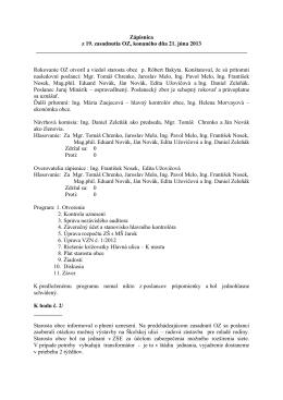 Zápisnica z 19. zasadnutia OZ, konaného dňa 21. júna 2013
