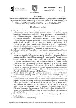 Regulamin rekrutacji uczniów/uczennic i uczestnictwa w