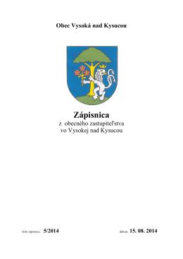 Zápisnica OZ č. 5/2014