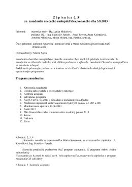 Zápisnica OZ 05 08 2013