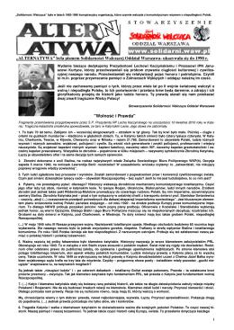 """""""ALTERNATYWA"""" była pismem Solidarności Walczącej Oddział"""