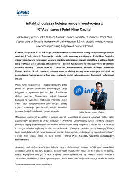 inFakt.pl ogłasza kolejną rundę inwestycyjną z RTAventures i Point