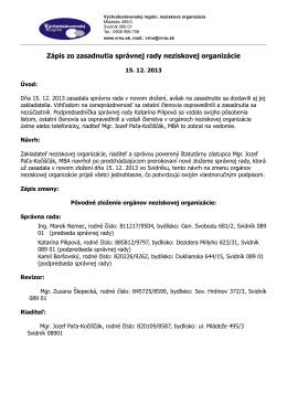 Zápis zo zasadnutia správnej rady neziskovej organizácie