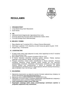 REGULAMIN - I Bieg Czterech Generałow