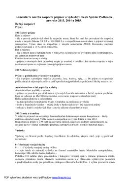 Komentár k návrhu rozpočtu 2013-2015