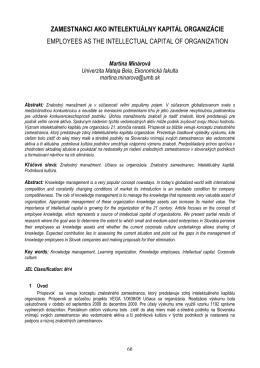 zamestnanci ako intelektuálny kapitál organizácie employees