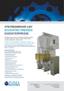 výstredníkové lisy eccentric presses exzenterpresse