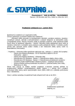 Predbežné vyhlásenie I-2013