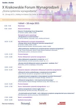 I dzień – 18 maja 2015 - Krakowskie Forum Wynagrodzeń