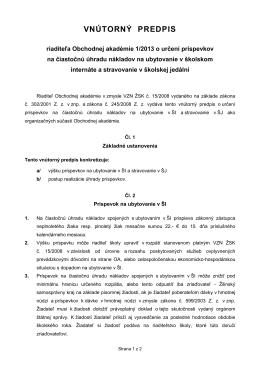 Vnútorný predpisom riaditeľa Obchodnej akadémie 1/2013