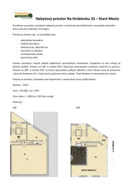 Nebytový priestor Na Hrebienku 33 – Staré Mesto