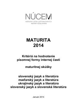 Maturita 2014/Kritériá na hodnotenie PFIČ MS