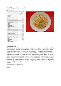 12.009 Čufty na dalmátsky spôsob Receptúra Výrobný