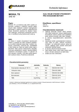 Technická informace - MOGUL TS (SAE 40)