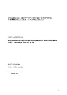 specyfikacja istotnych warunków zamówienia - dps