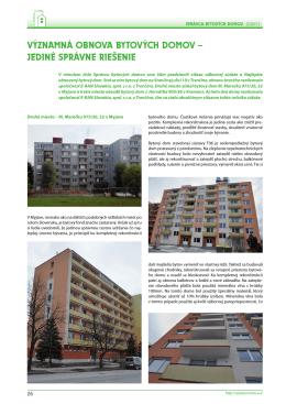 významná obnova bytových domov – jediné správne riešenie