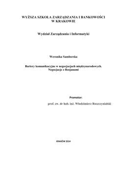 Negocjacje międzynarodowe - Wyższa Szkoła Zarządzania i