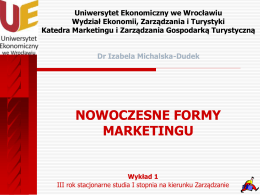 Marketing - Dr Izabela Michalska