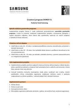 Grantový program DOMOV II. - Nadácia pre deti Slovenska