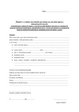 Žiadosť o vydanie stavebného povolenia na stavebné