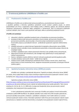 1. O testovacej platforme LANGMaster eTestMe.com