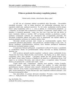 Príhovor predsedu Slovenskej evanjelickej jednoty
