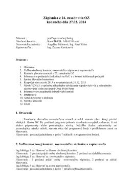 Zápisnica z 24. zasadnutia OZ konaného dňa 27.02