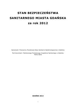 Raport o Stanie Bezpieczeństwa Sanitarnego Miasta Gdańska za