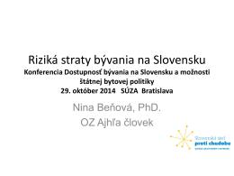 Riziká straty bývania na Slovensku