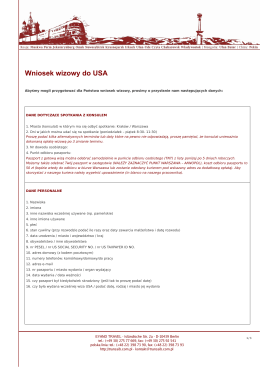USA - pytania do wniosku wizowego - dokument pdf