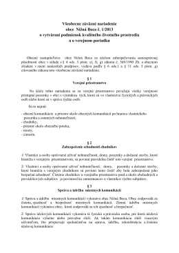 VZN č. 1/2013 o vytváraní podmienok kvalitného