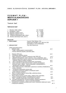 UPM Sládkovičovo – Textová časť (príloha)