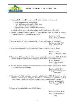 Ciele kvality SBD III Košice.(21_05_2014)