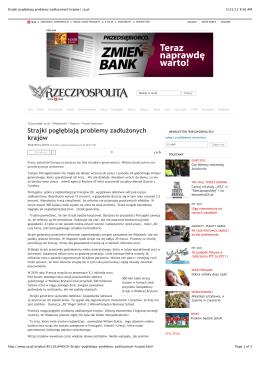 Strajki pogłębiają problemy zadłużonych krajów | rp.pl