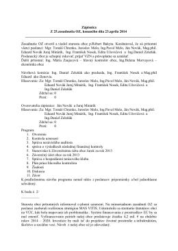 Zápisnica a uznesenia zo zasadania OZ, konaného dňa 23.4